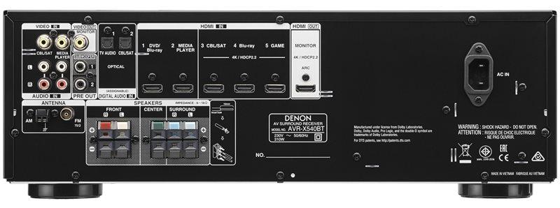 Achterkant van de AVR-X540BT receiver
