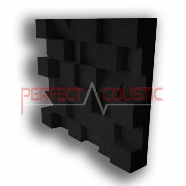 Kubieke akoestische diffuser natur zwart