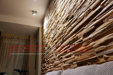 Hardhouten log akoestische diffusers